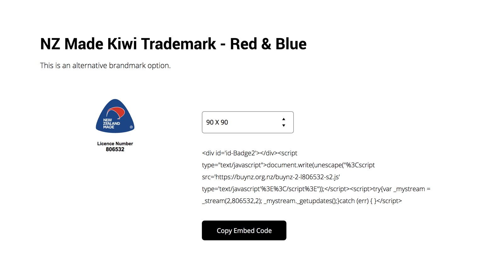 Buy NZ Widget - Blue & Red Logo