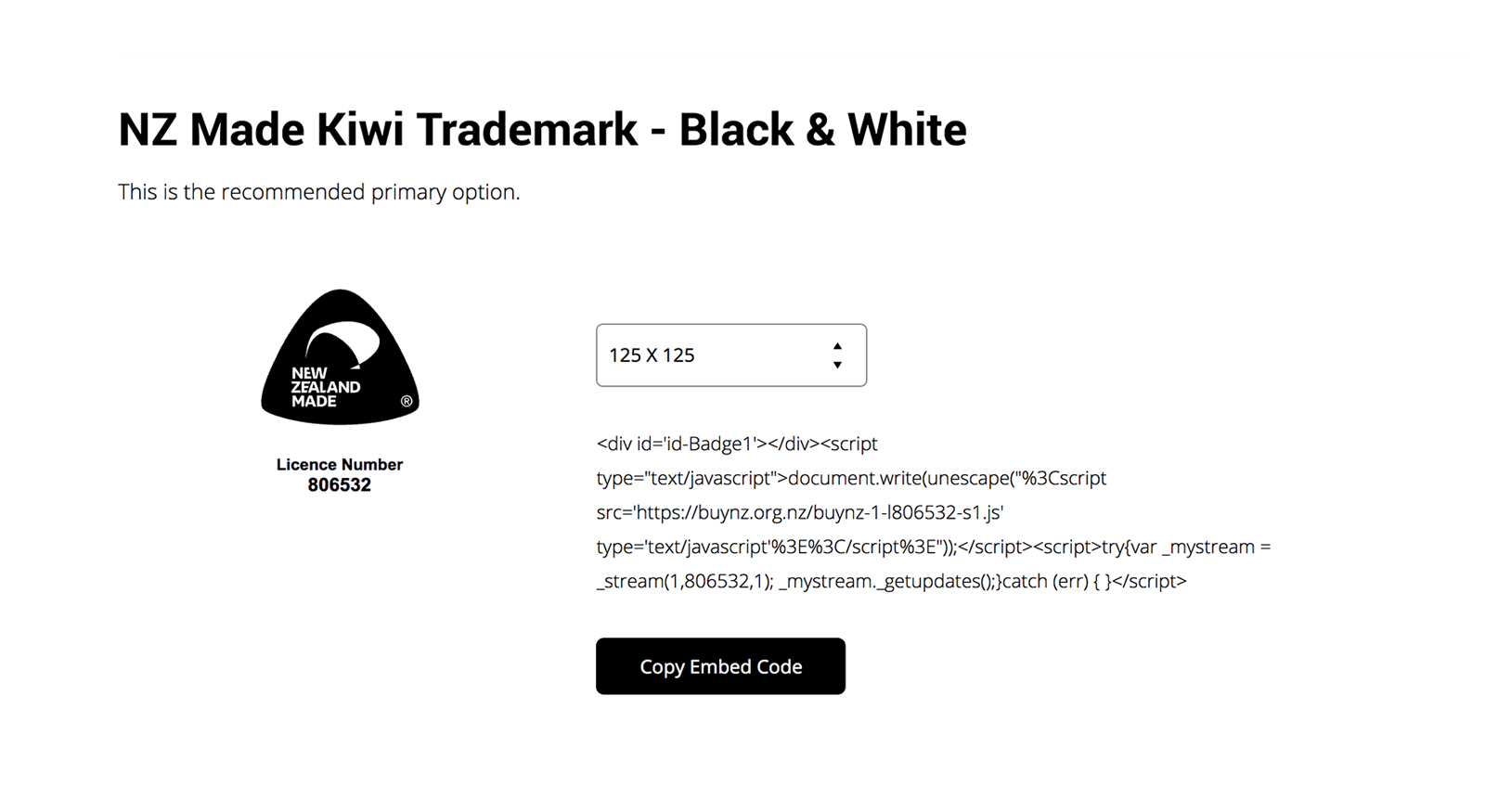 Buy NZ Widget - Black & White Logo